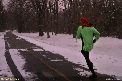 First Snowy Run of the Winter! On the Minuteman Bikepath in Lexington, MA.