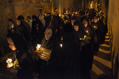 the nuns (David Mor) Tags: light silhouette night greek dawn candles shadows jerusalem nuns georgian procession russian orthodox viadolorosa oldcity bulgarian estonian serbian rumanian tombofmary holytheotokos blackrobs