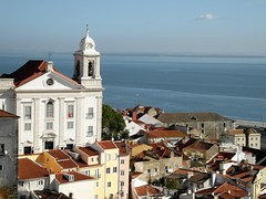 Santo Estevao Church Alfama, Lisboa - Portugal. ( Explore 04-01-14 ) (Flyingpast) Tags: travel vacation holiday tourism portugal church river day rooftops terracotta lisboa lisbon sunny bluesky belltower clear alfama capitalcity citybreak rivertagus largodasportasdosol miradourodasantaluzia wb2000 tl350 santoestevaochurch