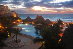 Dawn before Sunrise, Cancun (Simon__X) Tags: ocean travel cruise flowers blue sea vacation sky panorama sun mountain holid
