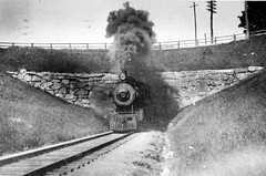 Dover Arch, Dover, N.H., Jun. 11, 1908 (bmrrhs) Tags: bridge smoke tunnel steam smokestack bm granite steamlocomotive bostonmaine steamloco bostonandmaine {vision}:{mountain}=0694 {vision}:{outdoor}=098