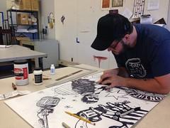 a dynamic studio shot...haha (Danny Martin art) Tags: arizona art cowboy tucson mixedmedia printmaking artstudio dannymartin tapandbottle