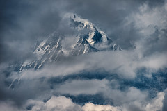 the clouds alomost completely covered the mountain, Annapurna, Nepal (CamelKW) Tags: nepal clouds skies annapurna himalayas annapurnatrek poonhill thehimalayas poonhilltrek trekkinginthehimalayas himalayastrekking ghorepanipoonhilltrek trektopoonhill