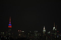 ESB (ShellyS) Tags: nyc newyorkcity skyline night manhattan skylines queens empirestatebuilding chryslerbuilding mets metscolors
