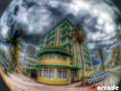 Surfside (*Arcade) Tags: sky building clouds colorful florida miami fisheye palmtrees artdeco dope hdr surfside iphoneography olloclip uploaded:by=flickrmobile flickriosapp:filter=nofilter