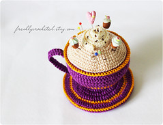violet cup (Olilchen) Tags: cup coffee rose heart tea crochet pins latte amigurumi cushion doily saucer