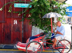 Trishaw of Penang (stardex) Tags: street man heritage wheel transport georgetown malaysia beca penang trishaw armenianstreet