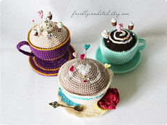 pincushions (Olilchen) Tags: cup coffee rose heart tea crochet pins latte amigurumi cushion doily saucer