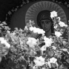 blessed (G. For._active again) Tags: blessed saint mary flowers white sacral picture icon painting lvov ukraine orthodoxchurch bw explored
