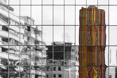 B&W(&C) (Adrien Marc) Tags: ladfense lemoretti moretti selectivedesaturation reflections tower colorful rainbow