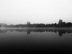 Symmetry (Andreas Kuehntopf) Tags: symmetry lake black white see schwarzweis