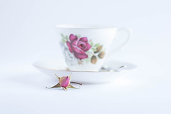 300/366: Just my cup of tea (judi may - more off than on) Tags: 366the2016edition 3662016 day300366 26oct16 october2016amonthin31pictures cupandsaucer cup saucer rose rosebud highkey white whitebackground pink macro canon7d spoon minimal simple simplicity lessismore