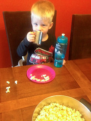 20151006_Shannon_phone_0036.jpg (Ryan and Shannon Gutenkunst) Tags: carsongutenkunst applecider diningtable firetrucktshirt popcorn snack snacktime waterbottle tucson az usa