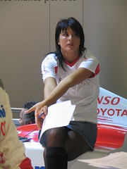 promo girl (themax2) Tags: pantyhose tagme legs nylon denim miniskirt 2006 hostess girl model promoter bologna motorshow