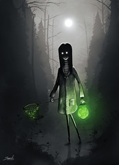 The Collector (Shmoonify) Tags: inktober firefly fireflies green light lighting greenlight nightlight jar catch catching collect collecting littlegirl girl night moon fullmoon forest woods creepy horror scary halloween drawlloween illustration childsbook storybook digitalart digitaldrawing digitalillustration
