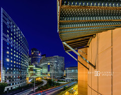 City of Light,  La Défense, Paris , France (davidgutierrez.co.uk) Tags: paris architecture art city photography davidgutierrezphotography nikond810 nikon urban travel people color londonphotographer photographer night france blue skyscraper bridge japanbridge ladéfense bluehour twilight buildings 巴黎 パリ 파리 париж parís parigi colors colours colour europe beautiful cityscape davidgutierrez capital structure ultrawideangle afsnikkor1424mmf28ged 1424mm d810 street arts businessdistrict îledefrance streets road building longexposure le