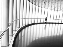 The journey ~ Shanghai (~mimo~) Tags: blackandwhite photography mobile iphone shotoniphone7 running girl reflection lines repetition shanghaitower china shanghai