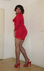 dressed in red (Barb78ara) Tags: reddress littlereddress lrd stilettoheels heels highheels redheels stockings stockingtops redstockingtops fishnetsstockings