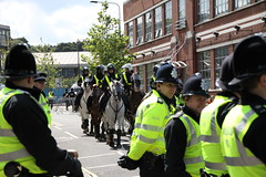 Police operation outside Portman Road (Ian Press Photography) Tags: ipswich town football club portman road suffolk norwiich city fc 999 police emergency service services match old farm derby championship norfolk horse horses mounted