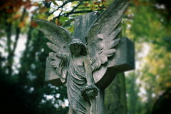 Dead Leaves And The Dirty Ground (puppyhand) Tags: highgate cemetery london ldn graveyard grave graves outdoor outdoors outside death tour stone east angel wing wings wreath statue broken