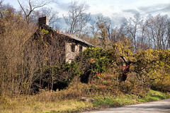 Abandoned House.. (zoomclic) Tags: abandonedhouse canon clouds house old decrepit trees sky foliage fall green grass weeds intheweeds outdoors overgrown 5dmarkii ef24105mmf4l derelict road spooky ominous bushes stonehouse zoomclicphotography