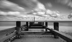 Sailing Away (Number Johnny 5) Tags: tamrongorleston d750 2470mm east long structures perspective noir clouds anglia advantix outdoors beach imanoot monochrome seascape exposure nikon ship black filter sea tiffen norfolk white