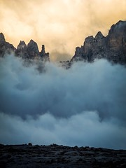Layer cake at dusk (lukskat) Tags: rocks clouds p7000 nikon viaferrata trekking mountains italy brenta dolomites view rifugioalimonta2580m