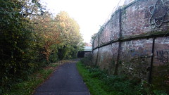 Brick retaining wall near Heorth Green   (Rowntree Railway / Foss Island Branch   old railway  (York)) (dave_attrill) Tags: york rowntree line foss island disused railway trackbed confectionery industry closed cycle path footpath sustrans national network goods 1895 1988 october 2016 retaining wall heworth green