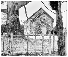 Convict Beginnings (juliewilliams11) Tags: monochrome blackandwhite photoborder outdoor building architecture church convict picketfence newsouthwales australia rustic