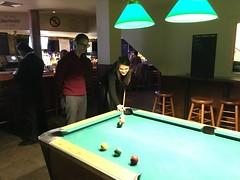 Emma shoots (JuhaOnTheRoad) Tags: newyork iphone bar pool billiards