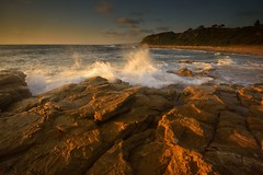 Chalky Beach Golden Light (Paul Hollins) Tags: aus australia newsouthwales swanseaheads nikond750 nikon1635mmf4 seascape chalkybeach rocks waves watermovement