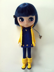 Coraline (Juther) Tags: blue cute yellow stars toy toys carved doll dolls factory dragonfly pastel coat littlegirl blythe custom raincoat dol coraline blythedoll libel taobao customblythe faceup blythedolls customdoll littlelady factorygirl littlemissperfect blythecustom customgirl factorycustom toysarealive