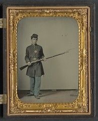 [Unidentified soldier in Union uniform with bayoneted musket]  (LOC) (The Library of Congress) Tags: portrait man standing studio uniform union fulllength young case libraryofcongress handcolored 1860s bayonet musket xmlns:dc=httppurlorgdcelements11 dc:identifier=httphdllocgovlocpnpppmsca33340