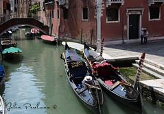 * (Julia Perelman) Tags: old city travel bridge venice summer people italy house man reflection water hat boat canal europe pile gondola venezia channel gondolier