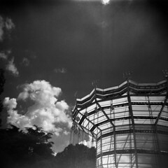 (Matteo Vandelli) Tags: park camera sky bw white house black 120 6x6 architecture clouds self square toy holga lomo lomography friend toycamera n luna iso plastic 400 medium format asa rodinal potrait developed vignette 120n foma fomapan