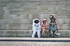Astronaut, Explorer And Dinosaur (Remix). (stonefaction) Tags: our people strange scotland weird costume edinburgh dress dynamic dinosaur earth explorer steps surreal astronaut fancy unusual bizarre quirky