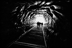 Mer de Glace Ice Cave in France (` Toshio ') Tags: light people blackandwhite bw france alps ice silhouette children europe european pattern path silhouettes glacier cave chamonix europeanunion montblanc frenchalps merdeglace toshio seaofice