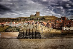 Whitby from the Water. (Darren Flinders) Tags: sunset sea summer sky lighthouse abbey night clouds photoshop lights pier seaside ship whitby boardwalk nightshots nightsky northyorkshire snapseed photoshopelements11