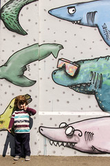 Triple punch (A Different Perspective) Tags: newzealand fish colour detail eye wall tooth mouth mural paint wellington sharks cbd tobias