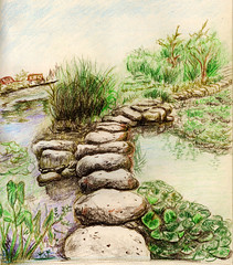 lake and stone road (dansemuou) Tags: ocean park sea summer sky mountain lake tree green art nature water rock stone illustration forest river painting landscape spring drawing stones background magic fantasy zen enchanted colorpencil