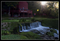 Hodgson Water Mill - Sunburst through the Trees (Nikon66) Tags: mill waterfall nikon missouri ozarks watermill d800 ozarkcounty hodgsonwatermill 2470mmf28nikkor copyright