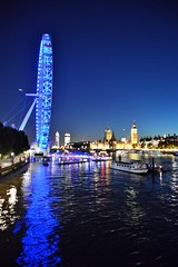 London Eye Big ben and House of Commons at dusk London England (Le monde d'aujourd'hui) Tags: blue light england reflection london water night river londoneye riverthames