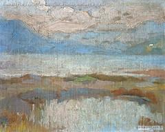 Romualdo Prati Lago di Caldonazzo olio su cartone 20x25cm[1] di R Prati