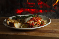 Chicken Parmesan (blandry186) Tags: light food chicken speed canon lite fire photography fireplace board single 7d cutting ember mm concept lites strobe embers speedlite 2470 speedlites