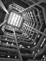 """The Atrium in B&W (scilit) Tags: blackandwhite toronto canada building glass monochrome lines architecture shopping downtown skylight structure balconies atrium legacy soe offices """"exoticimage"""""""