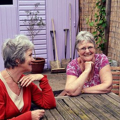 Sisters (Lou Morgan) Tags: uk family england house london love home senior smile sisters garden hair happy grey shed mature together laugh bond leisure relaxed share bonding pensioners