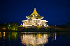 Parliament building at night (kuba!) Tags: reflection building night river parliament malaysia borneo kuching sawarak