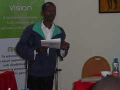 A participant making a presentation