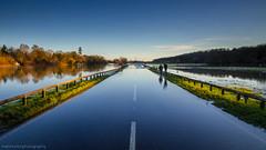Thames Flooding 2014 - Closed road (markhortonphotography) Tags: storm water sign thames canon river surrey 7d noentry carpark nationaltrust riverthames torrent runnymede 2014 oldwindsor windsorroad eos7d 1585mm