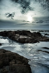 Blue (Lindsey... Instagram - 0lindsey0) Tags: ocean blue winter light sea sky sun cold color ice nature water clouds sunrise dark coast rocks waves cloudy tidal tone waterscape thechallengefactory cannoneosm